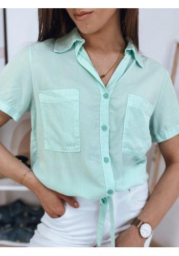 Dámská košilová halenka s oversize střihem v mátové barvě