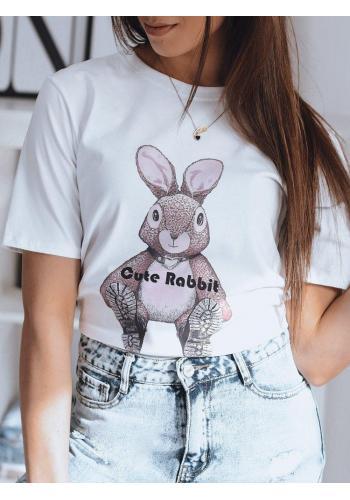 Módní dámské tričko bílé barvy s potiskem zajíce