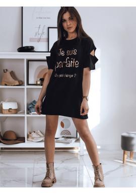 Dámské dlouhé tričko s nápisem v černé barvě