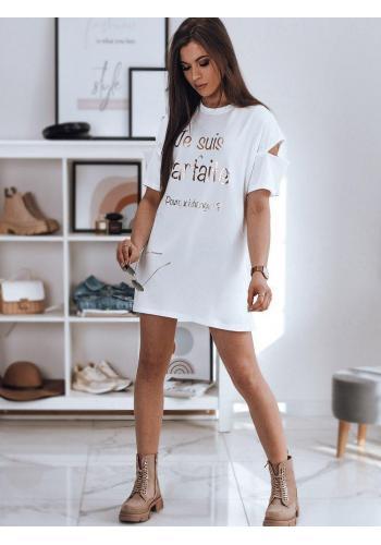 Bílé dlouhé tričko s nápisem pro dámy