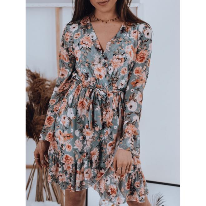 Květované dámské šaty mátové barvy s vázáním v pase