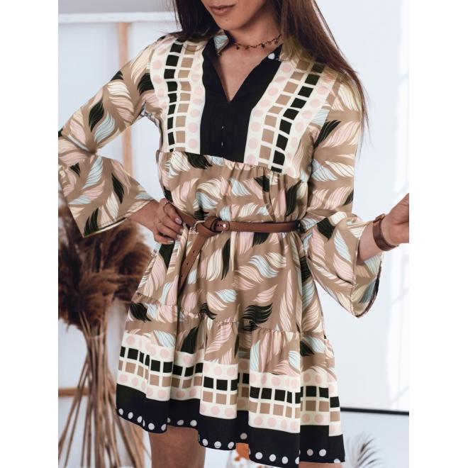 Béžové volné šaty s potiskem pro dámy
