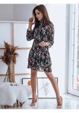 Květované dámské šaty černé barvy s volány