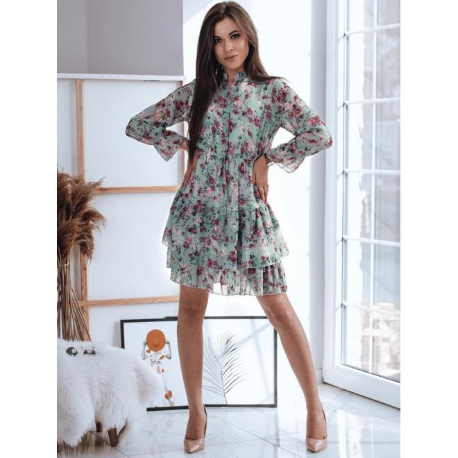 Mátové květované šaty s volány pro dámy