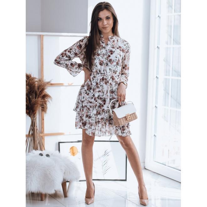 Dámské květované šaty s volány v bílé barvě