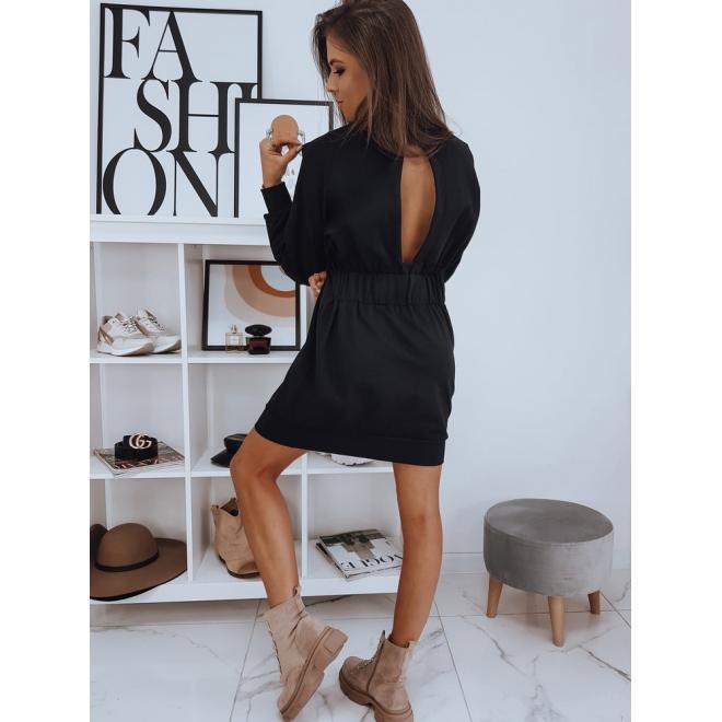 Teplákové dámské šaty černé barvy s výřezem na zádech