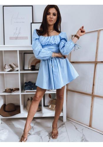 Dámské jedinečné šaty s vázanými rukávy v světle modré barvě