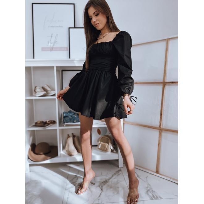Jedinečné dámské šaty černé barvy s vázanými rukávy