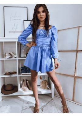Modré jedinečné šaty s vázanými rukávy pro dámy