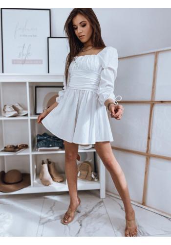 Dámské jedinečné šaty s vázanými rukávy v bílé barvě