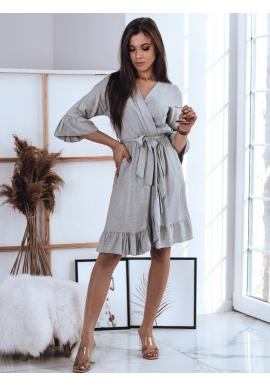 Pohodlné dámské šaty světle šedé barvy s volány