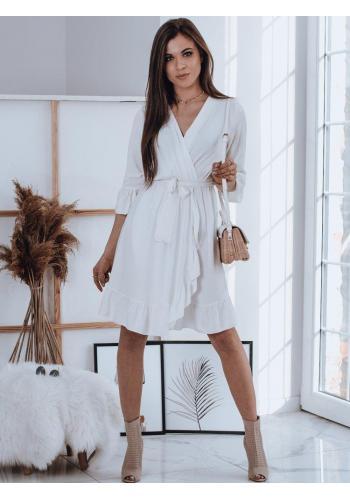 Bílé pohodlné šaty s volány pro dámy