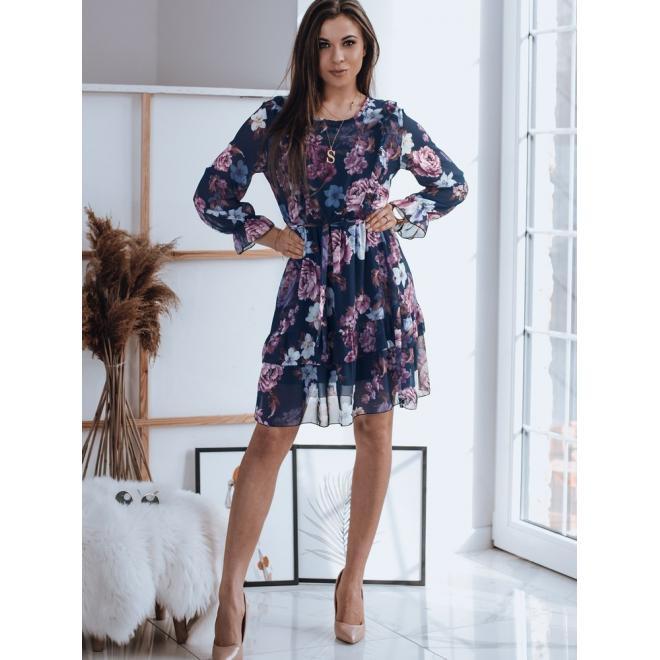 Tmavě modré květované šaty s volány pro dámy