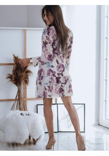 Květované dámské šaty bílé barvy s volány
