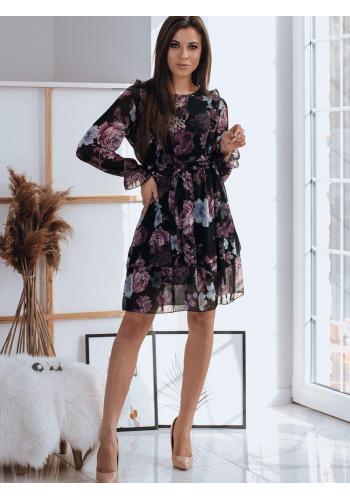 Dámské květované šaty s volány v černé barvě