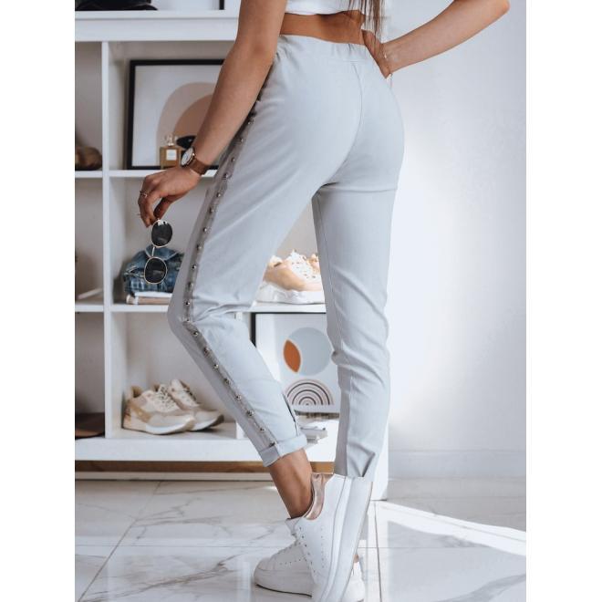 Teplákové dámské kalhoty světle šedé barvy s pruhem