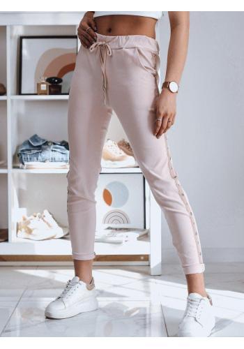 Dámské teplákové kalhoty s pruhem v růžové barvě