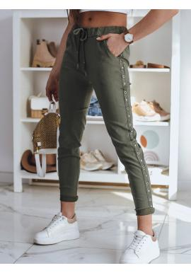 Khaki teplákové kalhoty s pruhem pro dámy