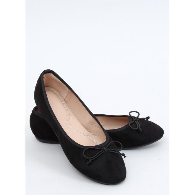 Semišové dámské balerínky černé barvy s mašlí