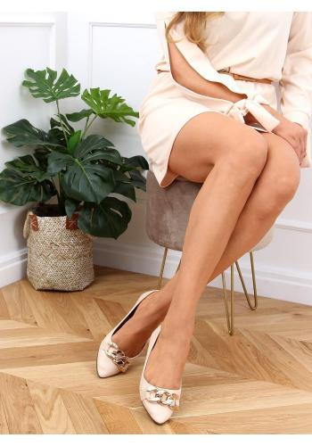 Stylové dámské balerínky béžové barvy se zlatým řetízkem