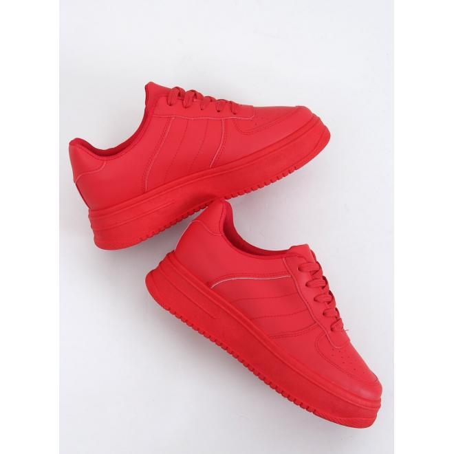 Dámské sportovní tenisky s vysokou podrážkou v červené barvě