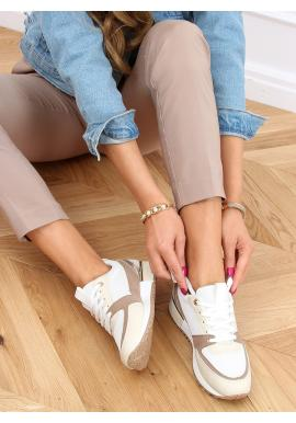 Béžové stylové tenisky se zlatými vložkami pro dámy