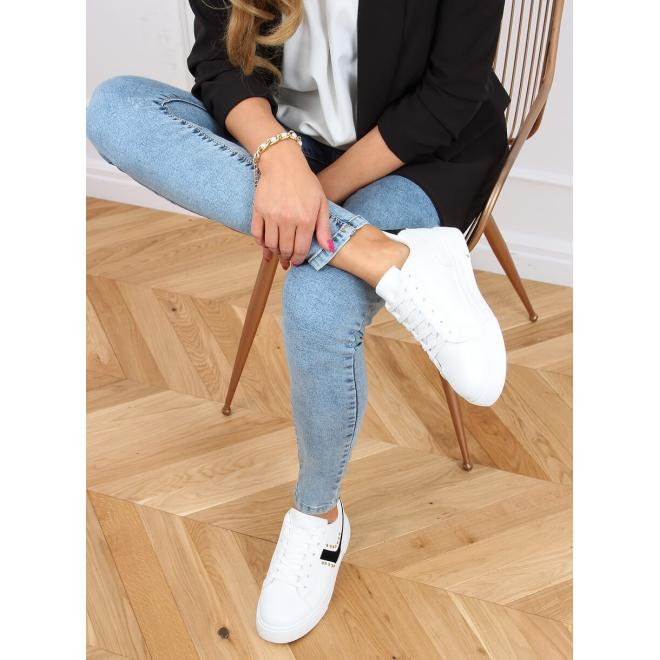 Dámské módní tenisky s druky v bílo-černé barvě