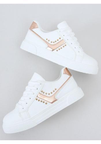 Módní dámské tenisky bílo-růžové barvy s druky