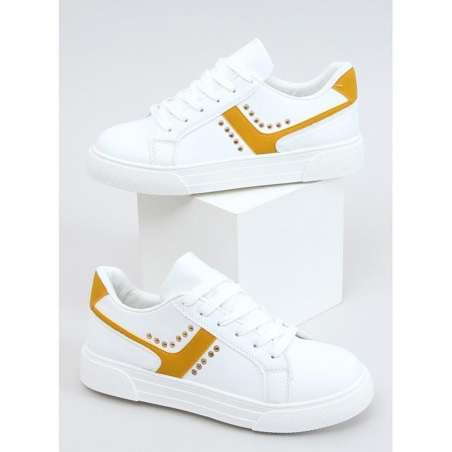 Bílo-žluté módní tenisky s druky pro dámy