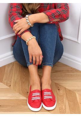 Nazouvací dámské tenisky červené barvy s třpytivými vložkami