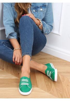 Zelené nazouvací tenisky s třpytivými vložkami pro dámy
