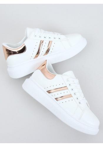 Klasické dámské tenisky bílo-růžové barvy s vysokou podrážkou