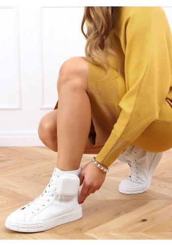 Kotníkové dámské tenisky bílé barvy s kapsičkou