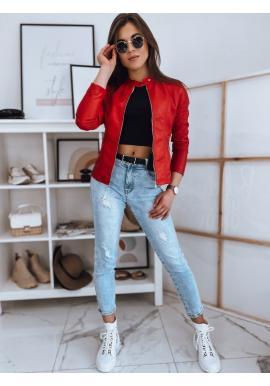 Dámská koženková bunda se stojacím límcem v červené barvě