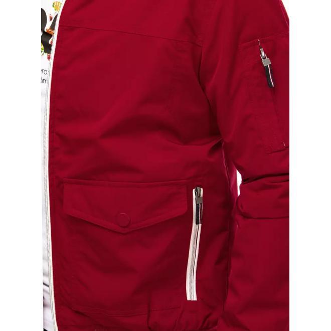 Pánská přechodná bunda se stojáčkem v bordové barvě