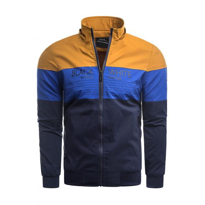 Přechodná pánská bunda modré barvy s odepínací kapucí