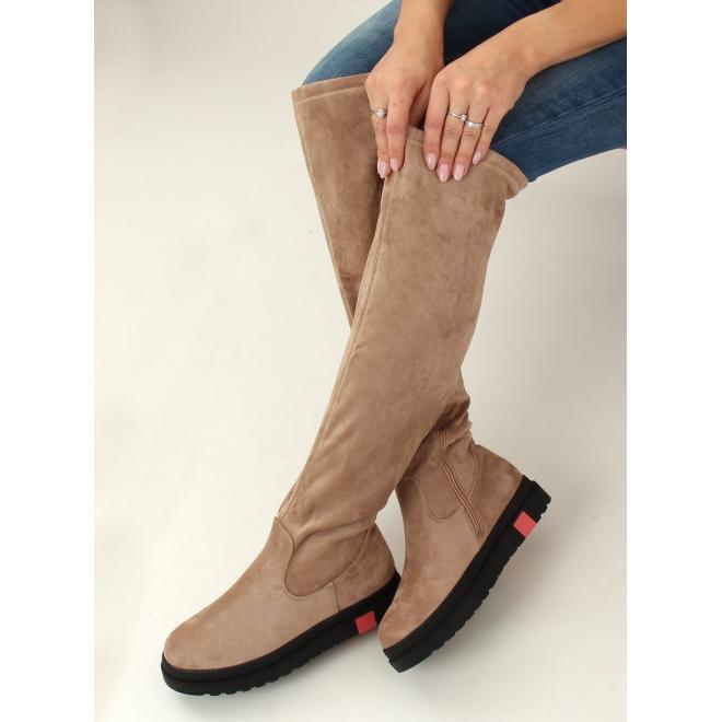 Semišové dámské kozačky nad kolena béžové barvy s hrubou podrážkou