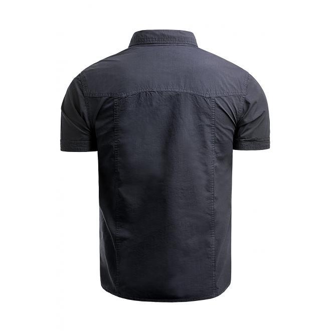 Pánské bavlněné košile s krátkým rukávem v tmavě modré barvě