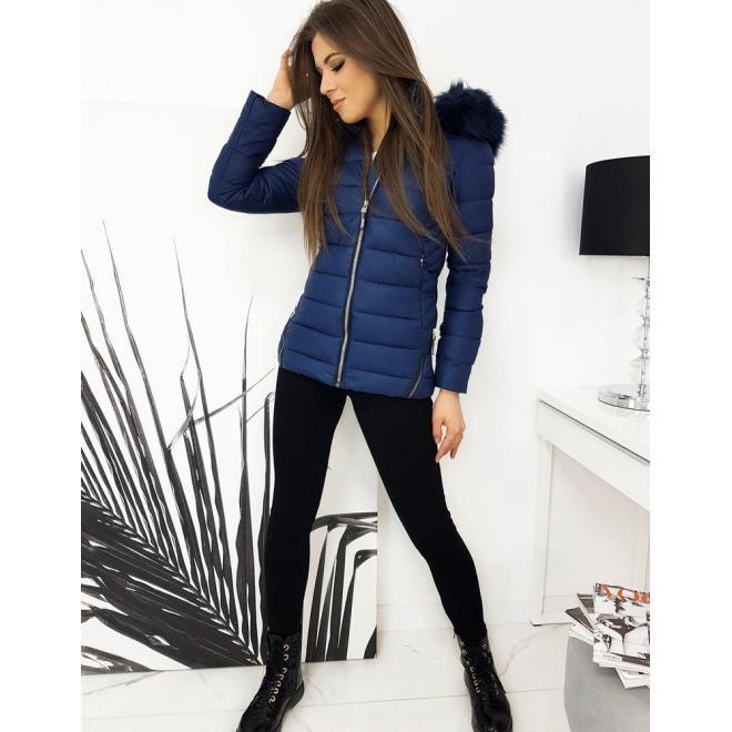 Tmavě modrá prošívaná bunda na zimu pro dámy