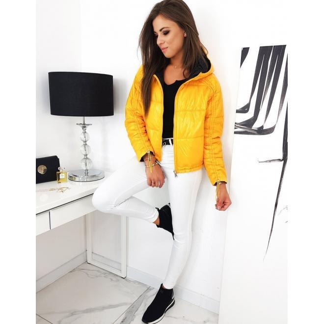 Žlutá oboustranná bunda s nařasením pro dámy