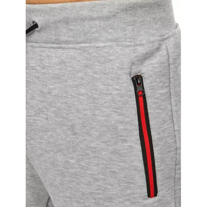 Světle šedé módní tepláky s kontrastními vložkami pro pány