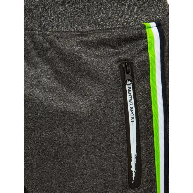 Pánské oteplené tepláky s pásy na bocích v tmavě šedé barvě