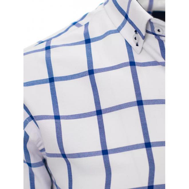Bílá košile s modrým kostkovaným vzorem pro pány