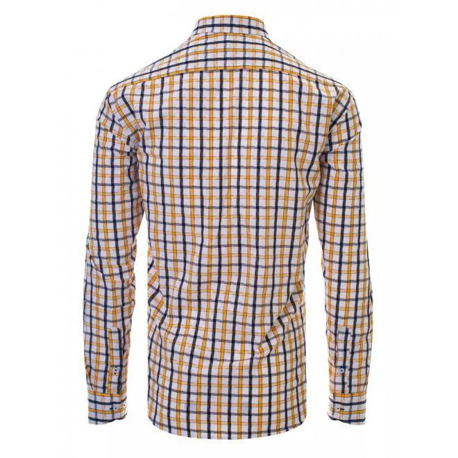 Kostkovaná pánská košile bílé barvy s dlouhým rukávem