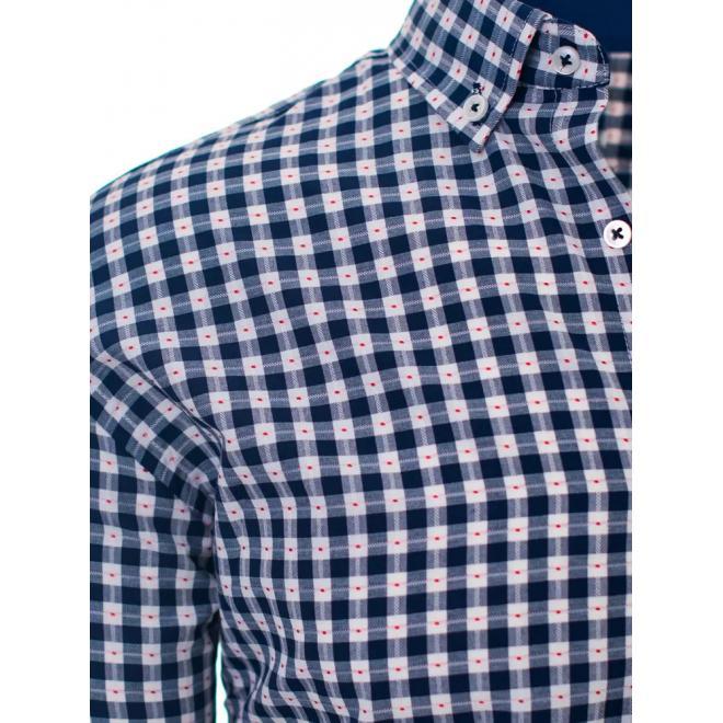 Pánské kostkované košile s dlouhým rukávem v modro-bílé barvě