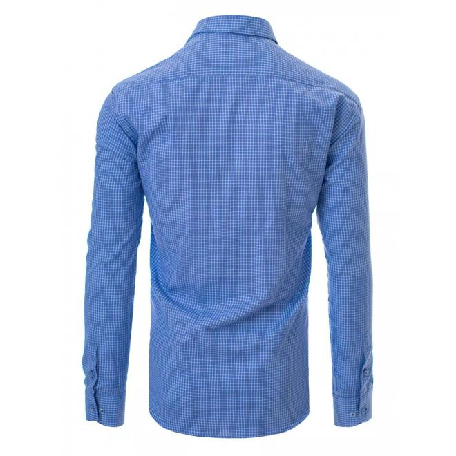 Modrá košile s bílým kostkovaným vzorem pro pány