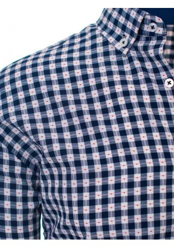 Vzorovaná pánská košile modro-bílé barvy s dlouhým rukávem