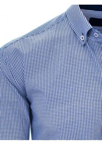 Pánská košile s kostkovaným vzorem v modré barvě
