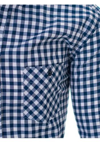 Modro-bílá kostkovaná košile s kapsou pro pány