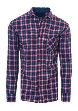 Pánská kostkovaná košile s kapsou v modré barvě